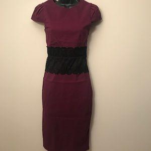 PAPER DOLLS: Lace Waist Cap-Sleeve Midi Dress
